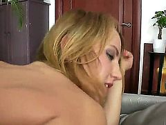 Hot young girl Gloria Miller is standing doggy on the couch and her girlfriend Macy is kissing and fingering her asshole and then getting fucked with dildo in her ass.