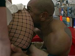 Kid Jamaica and Rocco Siffredi enjoy in getting their hands on a bootylicious blonde honey in sexy fishnet pantyhose and heels and enjoy in making threesome in the gym
