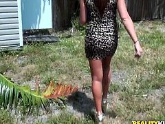 She doesn't say no to sex on cam. Sexy babe in leopard print dress is actually thinking of sucking a dick of a camera man.