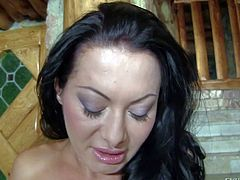 Sandra Romain is a raven haired juicy milf with amazing big butt. Bootylicious sexy woman strokes her experienced pussy before she inserts two fingers in her asshole. Sandra Romain cant keep her hands off her butt.
