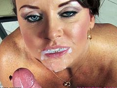 Hot Janet Mason shakes the ass and fingers her pussy. Later on she sucks a dick and licks balls. She also gives a titjob and gets her mouth filled with sperm.