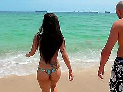 Jmac has super sweet time at the sunny beach with gorgeous and busty brunette Yurizan Beltran