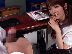 Hana Nonoka the kinky Japanese girl in school uniform lifts her skirt up and shakes her nice ass. After that she gives a handjob and gets a facial.