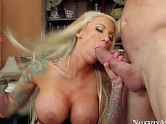 Nasty and busty blonde with tattoos on her arm enjoys in getting her shaved taco licked in all poses by dirty lad Billy Glide in the bedroom and enjoys