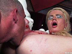 Those big naughty boobs, her dorky glasses and that hot ass makes the guy wanna fuck her rough. He bends this blonde whore and gives her booty a deep hard drilling. She moans and enjoys it before spreading her legs and getting ass fingered. Some pussy licking and she's ready for fucking again!