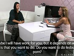 Hot brunette has lesbian sex during casting