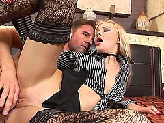 David Perry and Logan are made to make her pussy shred into pieces by their hard cocks