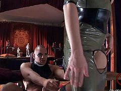 Jenna Haze and her lady friends Nicole and Katsuni enjoy in dressing up for a hot and kinky sex session with Nacho Vidal in latex outfits and have fun