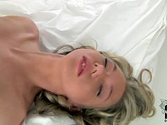 Seductive blondie wears sexy light pink lingerie and looks just gorgeous. Kinky nympho goes solo right in the early morning. The best way to be filled with erotic energy is to masturbate passionately. Luckily slim nympho with sweet tits has a huge dildo for drilling her wet pussy on the wide bed.
