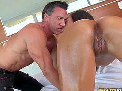 Horny lad with tattoo Marco Banderas enjoys in getting his hands all over hot and arousing ebony babe with an amazing ass and gets a hot blowjob on bed