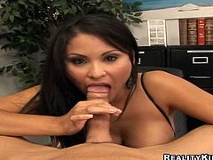 Bosomy brunette bombshell Sophia Lomeli is having fun with some dude in an office. She lets the man lick her cunt and then takes an incredible ride on his dick.