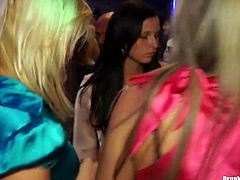 Fuckable white milfs in steamy office wear and pantyhose dance seductively in the middle of dance floor rubbing over each other and over kinky dudes in group sex video by Tainster.