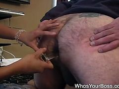 This TV repairman had no idea that a hot brunette in a slinky dress was gunna blindfold him and give him a strap-on fuck in this free tube video.