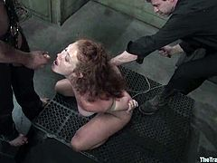 Naughty girl crawls on all fours and then gets whipped. Later on she gets her pussy tortured with clothespins. Then she gives deepthroat blowjob to her master.