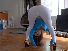 Sexy ass and pretty arousing brunette pornstar Jynx Maze enjoys in showing up in front of the camera in her see through white tights and posing and teasing really good