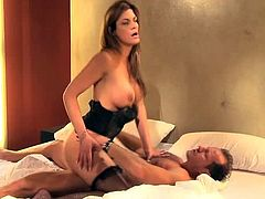 Stunning MILF in lingerie and fishnets sucks a cock and then gets fucked on a bed. After that she gets her face covered with cum.
