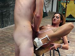 Alice Romain meets her boyfriend at his studio and her fucks. She opens her legs wide and offers her gaping holes. He slides his wiener in her butt and bones her. Watch as he fucks her extremely rough and nasty from behind.