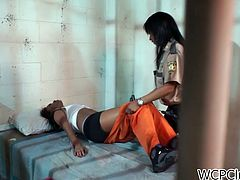 Zealous black chick is a kinky prisoner who's in the prison cell. Spoiled slim gal with nice tits gets rid of orange suit and stretches legs wide to get her wet juicy pussy licked by spoiled ebony cop. Just check out horny hot gals in WCP Club sex clip and be sure to jizz in a flash.
