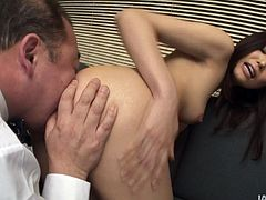 Divine Japanese babe gets seduced by perverse overaged doctor. He rubs her big milky tits before she stands in doggy pose to welcome a rimjob from him. Later she lies on her back to get her beaver tickled with vibrator.