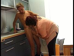 Kinky disgusting and fat brunette with heavy frightening makeup is in the kitchen with a voracious stud. This bitch desires to gain delight while her husband is at work. Dirty-minded fatso with saggy boobs and huge wrinkled ass gives a solid blowjob for delicious hot and gooey cum right in the kitchen.
