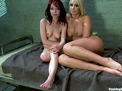 Jessi Palmer and Mellanie Monroe have a great time in a prison ward. They lick each others pussies and then get toyed by fucking machines.