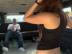 On this weeks bangbus update were bringing the homie tony back up In this MF and this guy is hungry for some ass I mean I cant blame him Its been a while since Ive had him on the bus. So were out and we spot a couple of honeys but of course they walk away because of this big ass camera but there was one chick who was really cool and the homie was digging so I threw some cash her way for an interview and she was down as long as we dropped her off by her car so easy pickins, Once on the bus she was cool she told us her taste in music and her and tony had a lot in common then we got a little bit