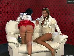 Two seductive milfs in steamy outfits, lingerie and pantyhose drill each other's pussies with dildo before tickling them with vibrators in perverse sex clip by Tainster.