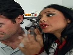 It is so easy for her to staret wild sex in her office. Busty and slutty brunette babe Priya Rai seduces her patient for awesome sex in her office.