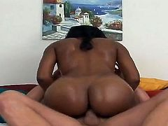 Ebony hottie with great breasts and perfect big butt gets seduced to have interracial sex by white fellow. He gets nice blowjob from her before screwing the beauty so hard.