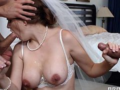 The thought of marriage scares her, she won't be able to fuck like a dirty whore and suck cock everyday! It's hard for her to stay with only one man, so this bitch decides that it's time for one more adventure. She goes inside the room with the groom's friends and gets gang banged. What will her man think about this?