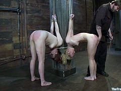 Two girls get tied up to the post. They also get whipped and spanked painfully. It looks like they love it.