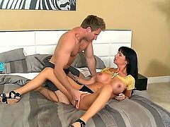 Strong guy with hard dick Jordan Ash pulled off his girlfriend Melisa Mendiny stocking licked her twat and made her to suck his cock before they fuck.