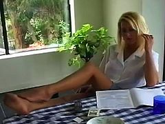 Feeling her big tits and that warm pussy makes blonde to get eager for some solo