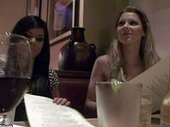 Arousing pornstar babes Sandy and Jessica Moore enjoy in having some free time and going to the restaurant wit their clients for a nice lunch, but get caught on cam as well