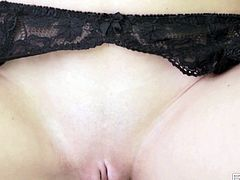 This video starts with a scorching hottie wearing her sexy lingerie. Sweet and sexy blonde starts with caressing her boobs. When her pussy becomes really wet, babe bends over and starts to masturbate her pussy.
