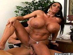 Lisa Lipps has very big fake tits. She gives skillful blowjob to her colleague and then lies down on a table. She spreads her legs and gets her pussy destroyed.