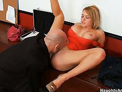 Derrick Pierce uses his rock hard rod to make Krissy Lynn with big hooters and clean snatch happy