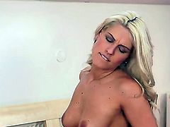 Turned on naked blonde and black haired lezzies Blanche Bradburry and Gabi de Castello with natural boobs and slim bodies lick and finger each other all over the room.