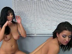 Turned on black haired lessies Ann Marie Rios and Jelena Jensen with cheep heavy make up and nice body get naked while making out and have hot scissoring action.