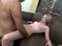 A hot blonde fucking bitch rubs a vibrator on her sweet-ass fucking pussy and gets nailed by some douchebag! Check it out!
