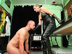 Leather top and tight pants on sexy mistress