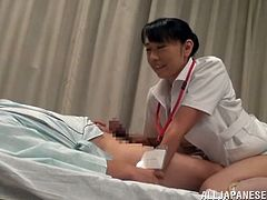 Here is this smoking hot and amazing Japanese nurse. She gets naked and starts sucking her patient right in the room. He did not expect to be treated like that!