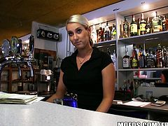 If you want to impress a hot bartender you gotta wave around tons of cash, Horny guy gets Lenka's attention by showing her some money, She flashed him her perky tits, then he banged the fuck outta her in the back room. You gotta see it!