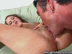 Billy Glide enjoys in seducing a young and slim brunette hottie with small perky boobs and hot ass in tight jeans and gets his bazooka sucked with pleasure