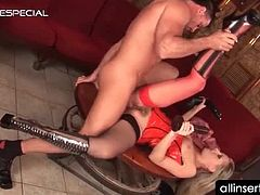 Blonde horny babe in red lingerie pussy fucked with massive dildos