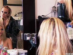 At a hair saloon things start to get hot and heavy. These superb bitches are getting from meanness and envy to pure lust! Look how this blonde is getting her hair done and then she receives a mean lustful and mean massage for her pussy. Yeah, these bitches are hot and mean, enjoy them!
