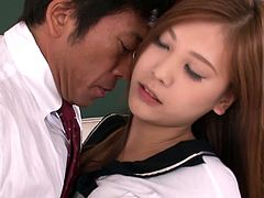 Divine Japanese student lures her professor right in the auditorium. She rubs his strain dick through pants before he pulls her skirt up to finger fresh pussy.