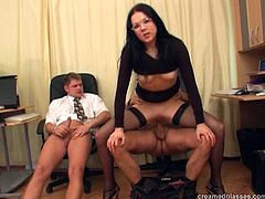 Well, this brunette isn't as shy as she looks like. Spoiled nympho in glasses wanna pass the interview to become a secretary. This slut has her own method. Horn-mad nympho in black dress and stockings have foursome right in the office. This slim bitch with nice ass rides and sucks dicks so passionately as if there's no tomorrow.