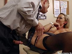 Gorgeous secretary Abbey gets rammed by Bill