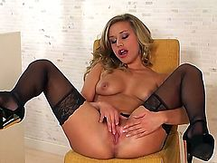 Kennedy Leigh with small tities and bald bush gives a closeup of her beaver as she masturbates